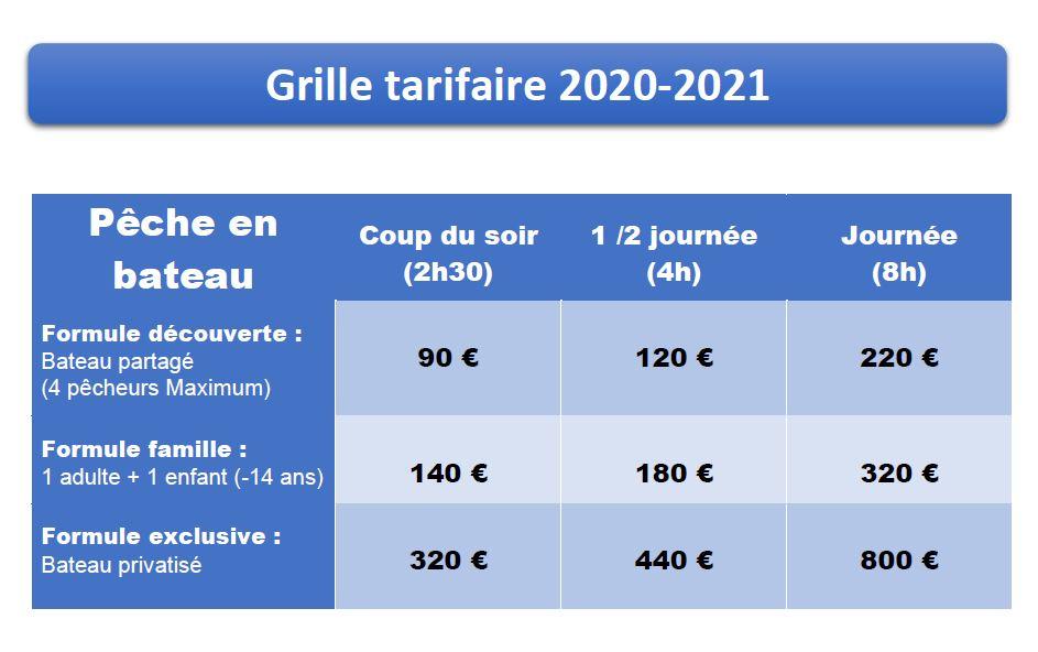 Tarif 2020/2021 - sortie pêche en mer en bateau - Golfe du Morbihan